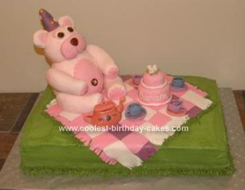 Homemade Teddy Bear Tea Party Cake