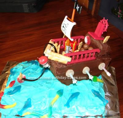 Homemade Teddy Bear Pirate Ship Cake