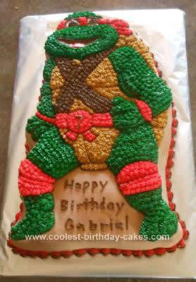 Homemade Teenage Mutant Ninja Turtle Birthday Cake
