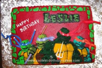Homemade Teenage Mutant Ninja Turtle Cake