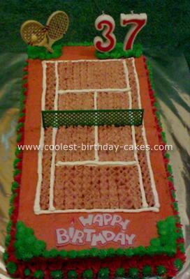 Coolest Tennis Court Birthday Cake