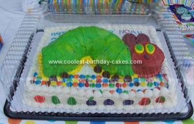Homemade The Very Hungary Caterpillar Birthday Cake