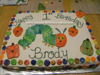 Homemade The Very Hungry Caterpillar Cake