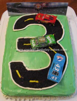 Homemade  Third Birthday Track Cake