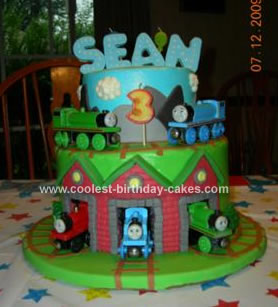 Amazing Cool Homemade Thomas And Friends Theme Cake Funny Birthday Cards Online Overcheapnameinfo