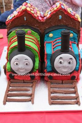 Homemade Thomas and Percy Birthday Cake