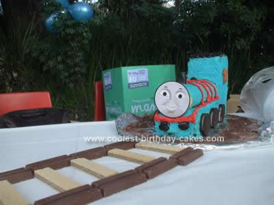 Homemade Thomas and Percy Birthday Cake