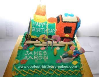 Homemade Thomas the Engine Birthday Cake