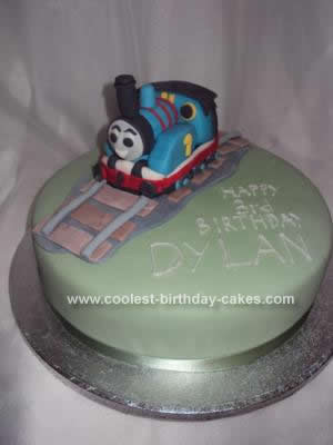 Homemade Thomas The Tank Engine 3rd Birthday Cake