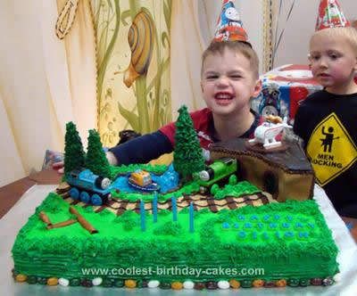 Homemade Thomas The Tank Engine 4th Birthday Cake