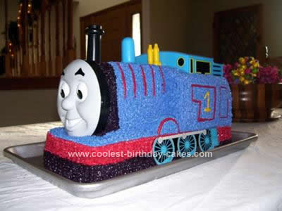 Homemade Thomas The Train Birthday Cake
