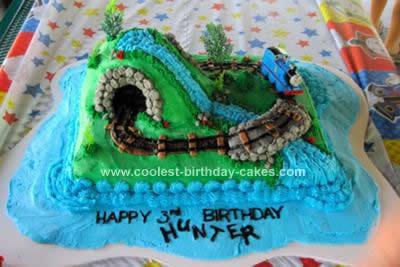 Homemade Thomas the Train Island of Sodor Birthday Cake
