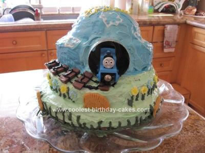 Homemade Thomas the Train Mountain Cake