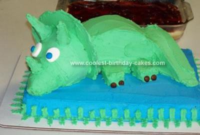 Homemade Three Horn Birthday Cake