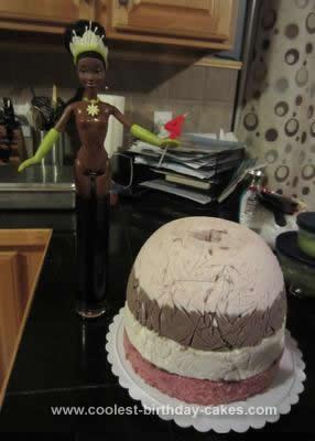 Homemade Tiana Doll Birthday Cake
