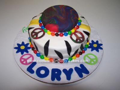 Homemade Tie Dye Birthday Cake