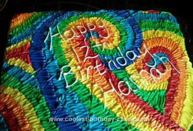 Homemade Tie Dye Birthday Cake