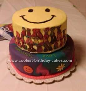 Homemade Tie-Dyed Birthday Cake