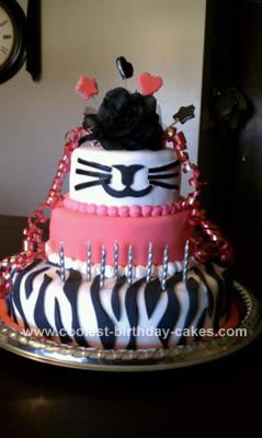 Homemade Tiger Striped and Pink Birthday Cake