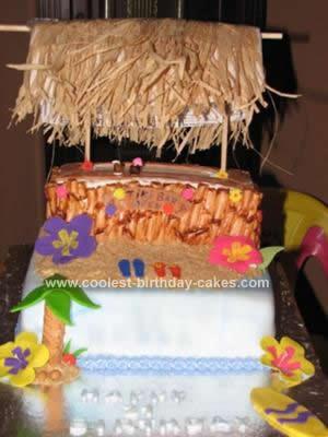 Homemade Tiki Bar Birthday Cake