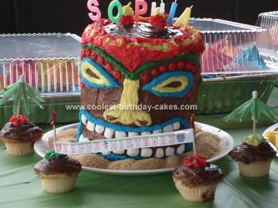 Homemade Tiki Birthday Cake