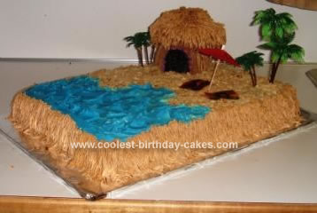 Homemade Tiki Hut Beach Cake