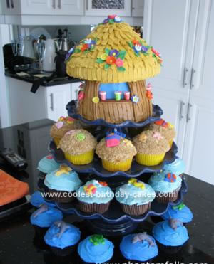 Homemade Tiki Hut Cake and Beach Cupcakes