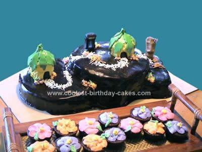 Homemade Tiki Village Cake