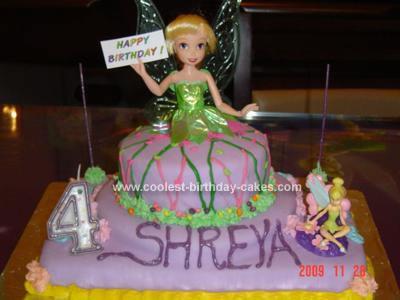 Homemade Tinker Bell Dress Cake