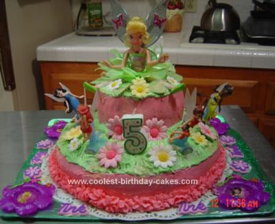 Homemade Tinkerbell 5th Birthday Cake