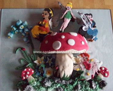 Homemade Tinkerbell And Toadstool Cake