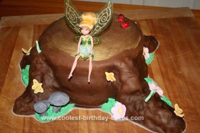 Homemade Tinkerbell Birthday Cake