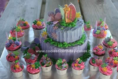 Terrific Coolest Tinkerbell Homemade Birthday Cake And Cupcakes Personalised Birthday Cards Cominlily Jamesorg