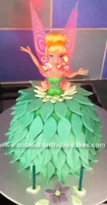 Homemade Tinkerbell Doll Birthday Cake