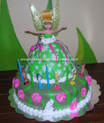 I Made This Homemade Tinkerbell Doll Cake For My Friends Daughter Ariana 5yrs Birthday The Bottom Is Yellow Out Of Scratch Recipe With