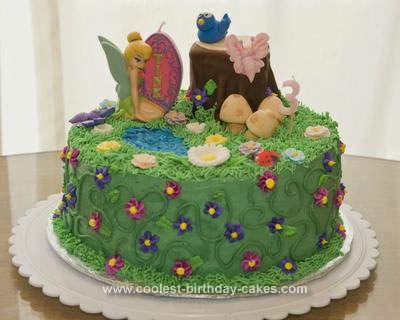 Homemade Tinkerbell Fairy Garden Birthday Cake