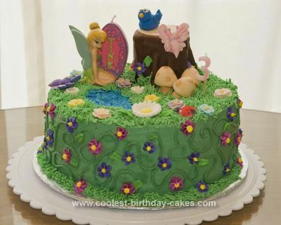 Astonishing Coolest Tinkerbell Fairy Garden Birthday Cake Funny Birthday Cards Online Overcheapnameinfo