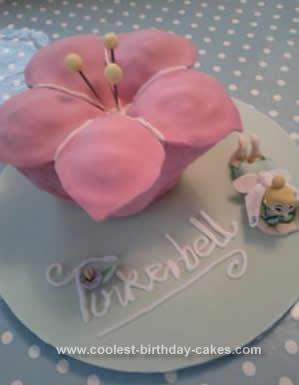 Homemade Tinkerbell Flower Cake Idea