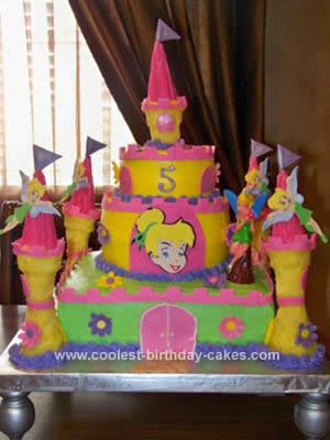 Homemade Tinkerbell Princess Castle Cake