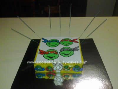 Homemade TMNT Birthday Cake
