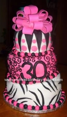 Pink and Black Topsy Turvey Cake