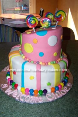 Homemade Topsy Turvy Baby Shower Cake