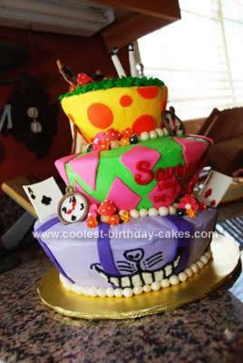 Homemade Topsy Turvy Birthday Cake