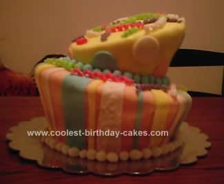 HOmemade Topsy Turvy Birthday Cake