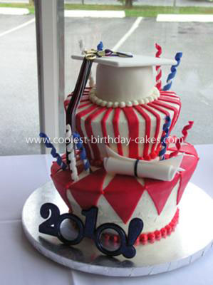 Coolest Topsy Turvy Graduation Cake