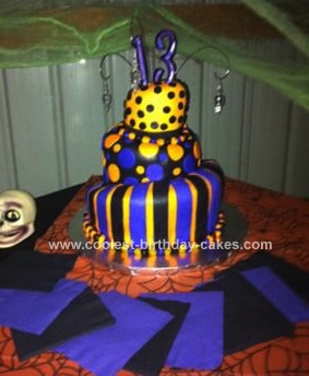 Homemade Topsy Turvy Halloween Birthday Cake