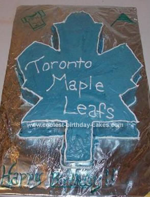 Homemade Toronto Maple Leafs Cake