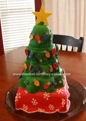 Homemade Towering Christmas Tree Cake