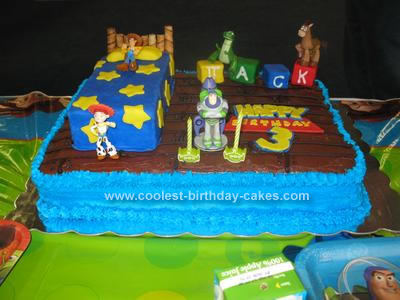 Awesome Cool Homemade Toy Story Scene Birthday Cake Personalised Birthday Cards Fashionlily Jamesorg