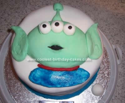 Homemade Toy Story Alien Birthday Cake